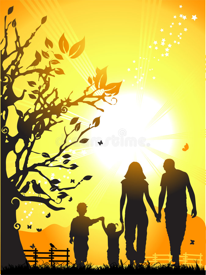 La famiglia felice cammina sulla natura,   illustrazione vettoriale