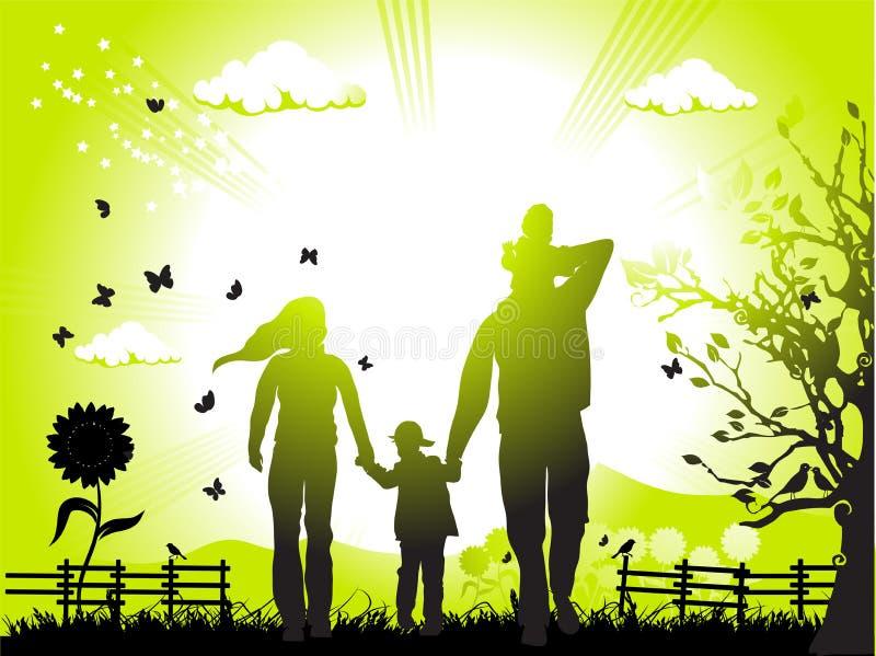 La famiglia felice cammina sulla natura illustrazione di stock