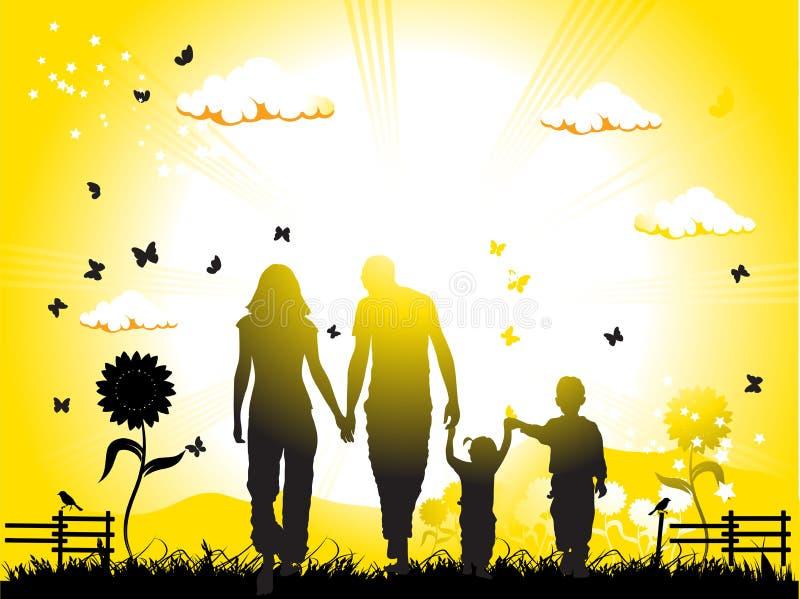 La famiglia felice cammina sulla natura royalty illustrazione gratis