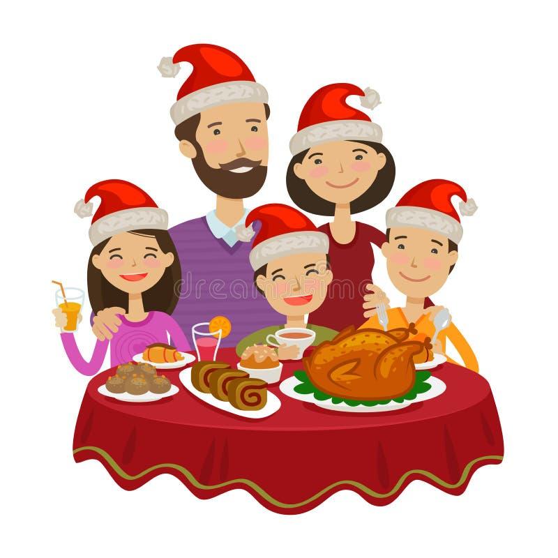 La famiglia felice celebra il Natale Concetto di festa Illustrazione di vettore del fumetto royalty illustrazione gratis