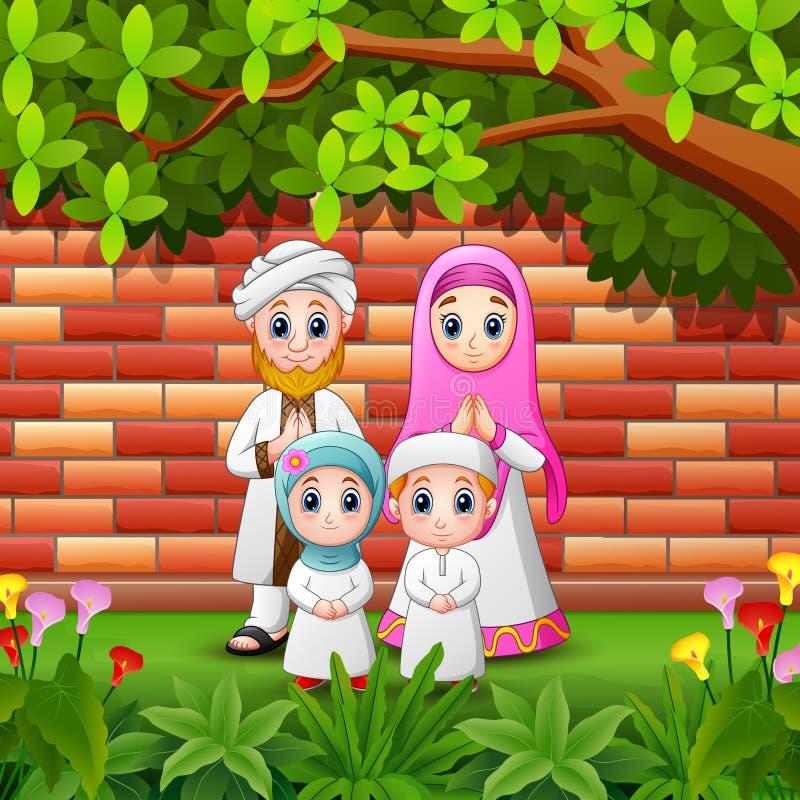 La famiglia felice del fumetto celebra il eid Mubarak con il fondo del muro di mattoni illustrazione vettoriale