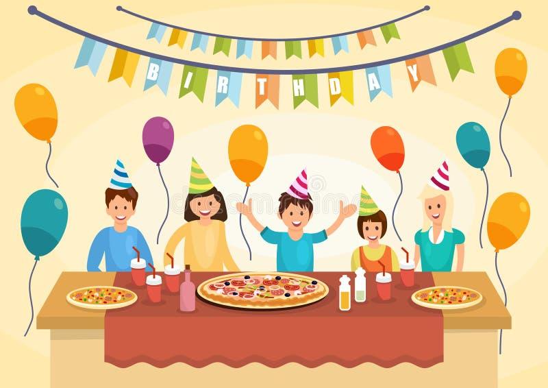 La famiglia felice del fumetto sta mangiando la pizza per il compleanno royalty illustrazione gratis