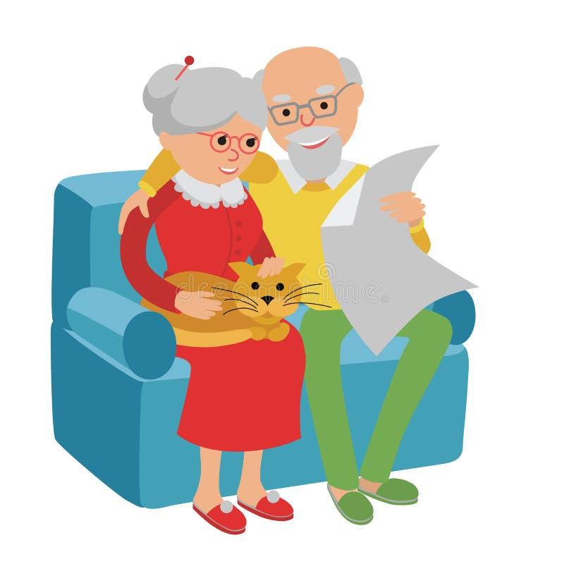 La famiglia felice della donna dell'uomo senior che si siedono sul sofà ed il resto Vector il fondo di bianco dell'illustrazione illustrazione vettoriale