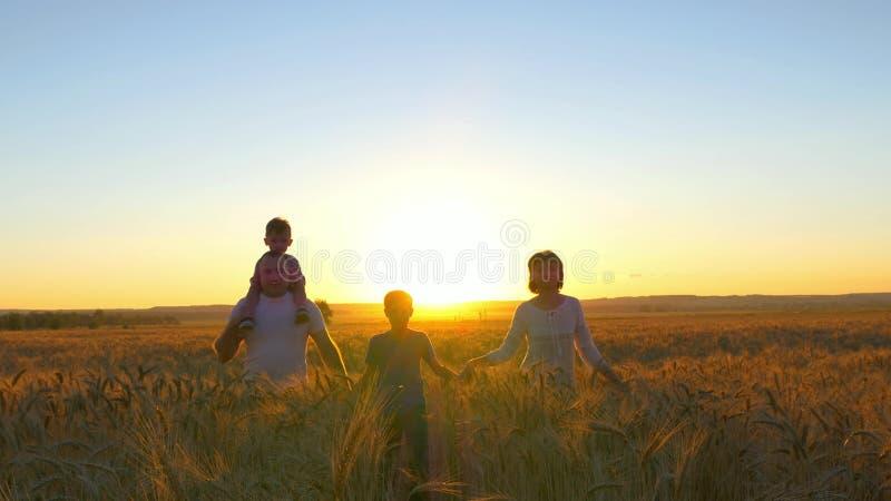 La famiglia felice sta camminando lungo un giacimento di grano su un fondo del tramonto fotografie stock libere da diritti