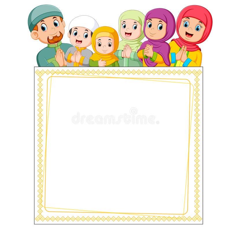 la famiglia felice sta dando il saluto di Mubarak ied sulla cima del manifesto in bianco illustrazione di stock