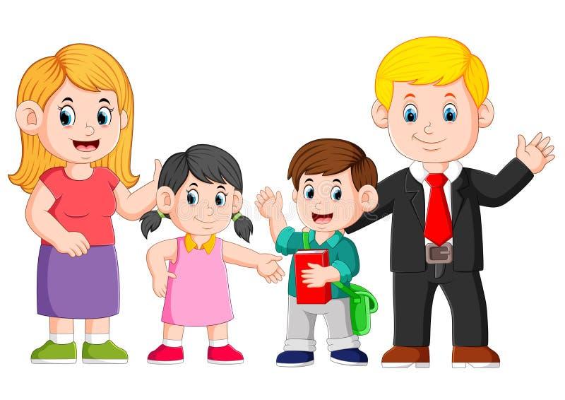 la famiglia felice sta posando con il fronte felice illustrazione vettoriale