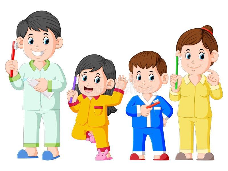 la famiglia felice sta posando con lo spazzolino da denti royalty illustrazione gratis
