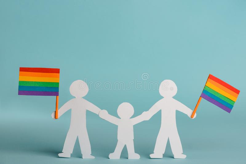 La famiglia gay celebra l'orgoglio di LGBT fotografia stock libera da diritti