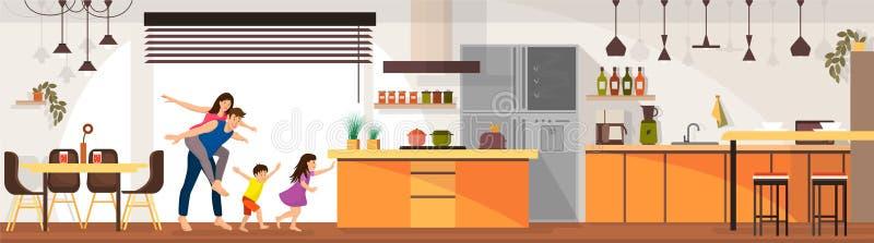 La famiglia gode del salone moderno dentro l'interno royalty illustrazione gratis