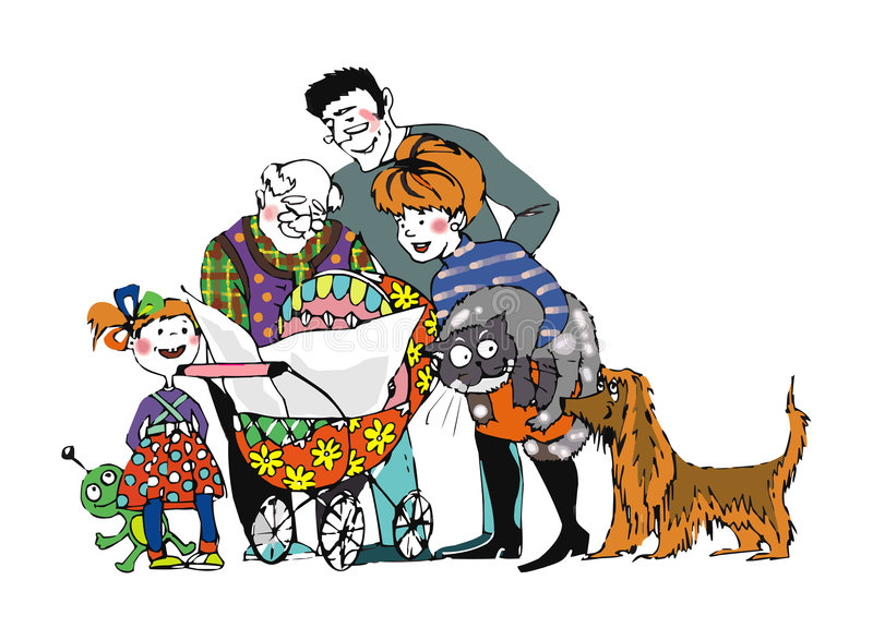 La famiglia legge un giornale royalty illustrazione gratis
