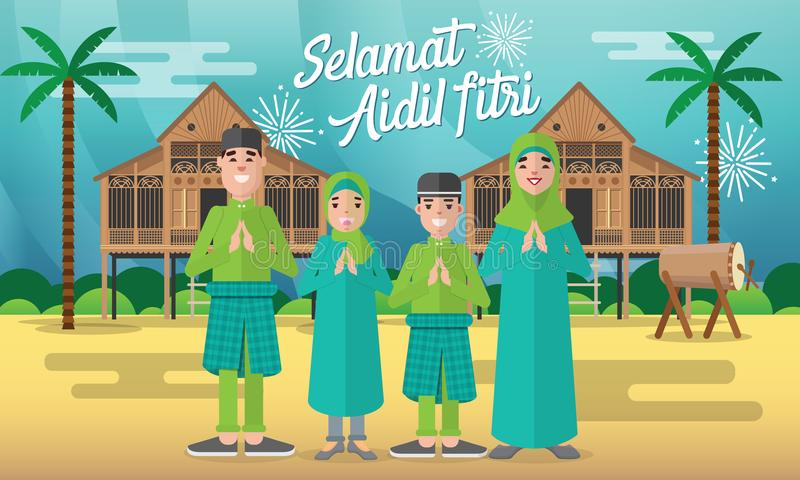La famiglia musulmana felice celebra per il fitri del aidil con con la casa tradizionale/Kampung del villaggio del malay e tambur immagine stock libera da diritti