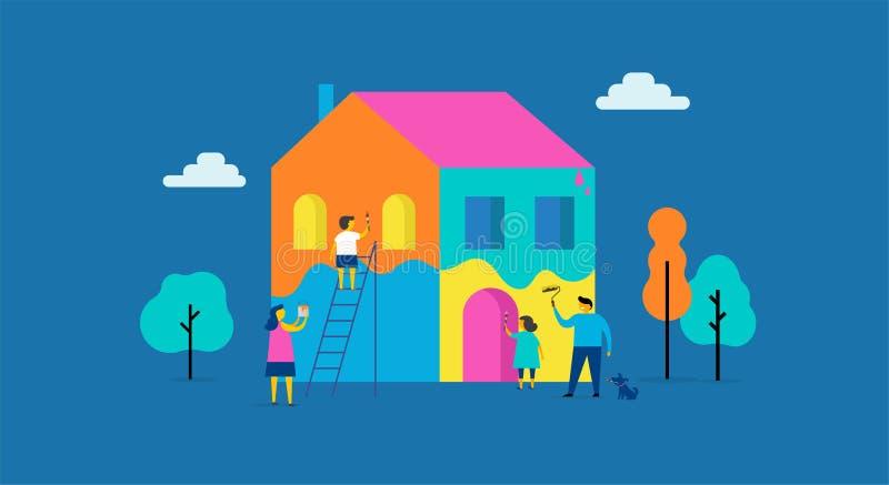 La famiglia sta dipingendo a casa, progettazione di massima Scena all'aperto di estate con l'illustrazione piana minimalistic var royalty illustrazione gratis