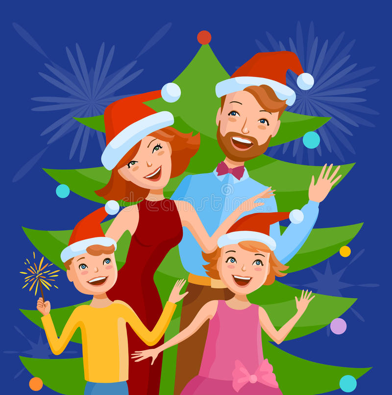 La famiglia sveglia del fumetto celebra il nuovo anno illustrazione vettoriale