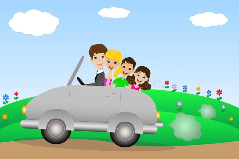 La famiglia va in un viaggio su un'automobile illustrazione di stock