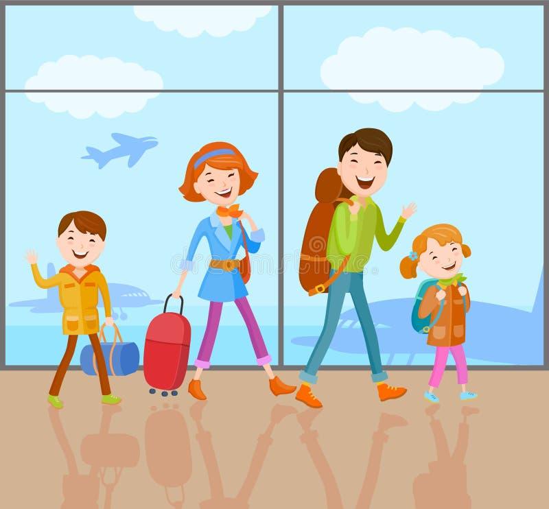 La famiglia va in viaggio fotografia stock