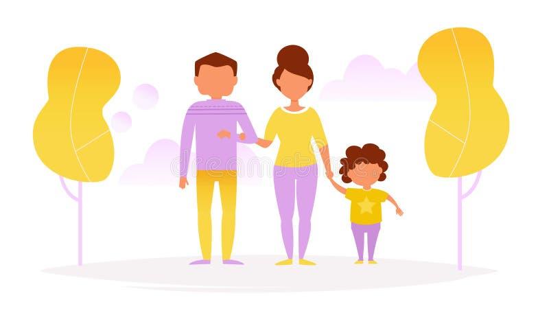 La familia camina en el parque ilustración del vector