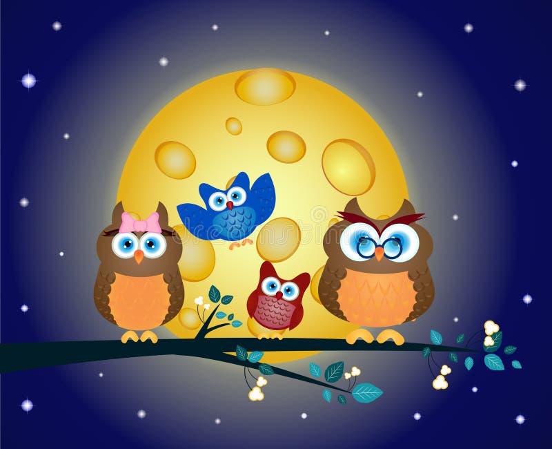 La familia de búhos se encaramó en una rama de árbol stock de ilustración