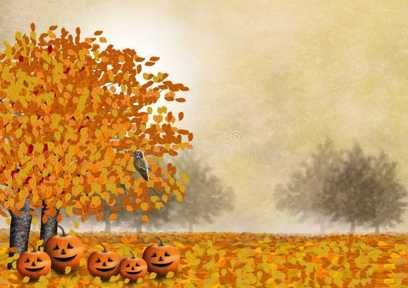 La familia de la calabaza con su amigo el búho en un paisaje del otoño ilustración del vector