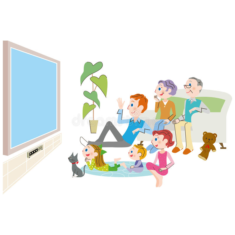 La familia de la tercera generación que se relaja en la vida libre illustration
