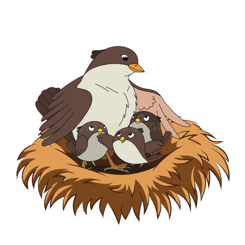 La familia de pájaros mima al pájaro con sus dos bebés en la jerarquía stock de ilustración