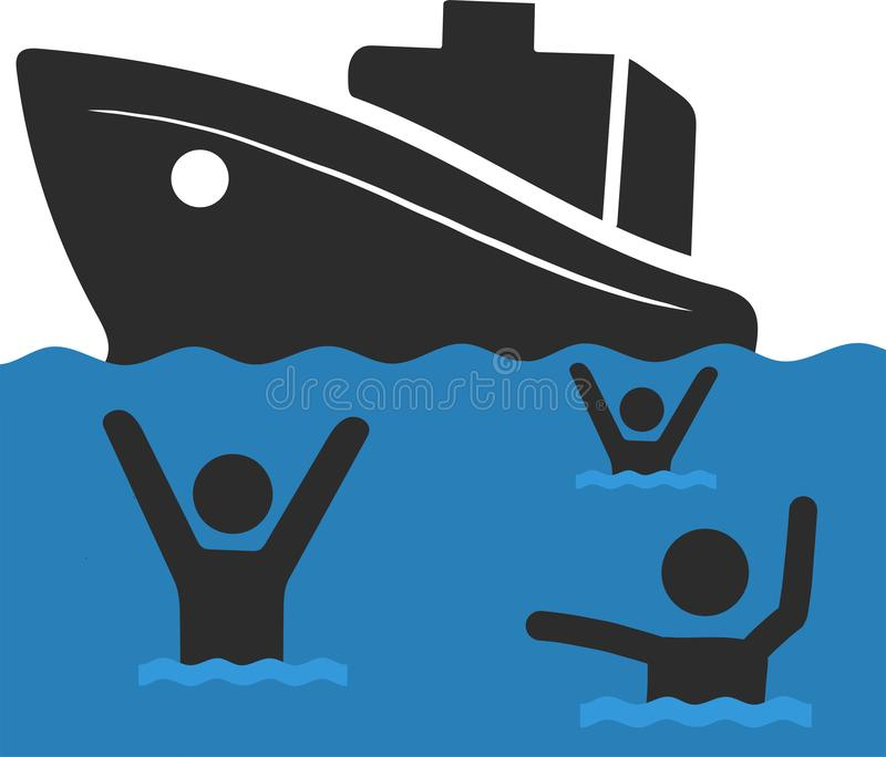 La familia de refugiado con los niños Navegación a Europa en el barco Transición y vida de la tierra en el campamento de refugiad stock de ilustración