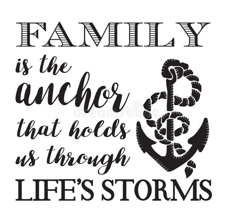 La familia es el ancla stock de ilustración