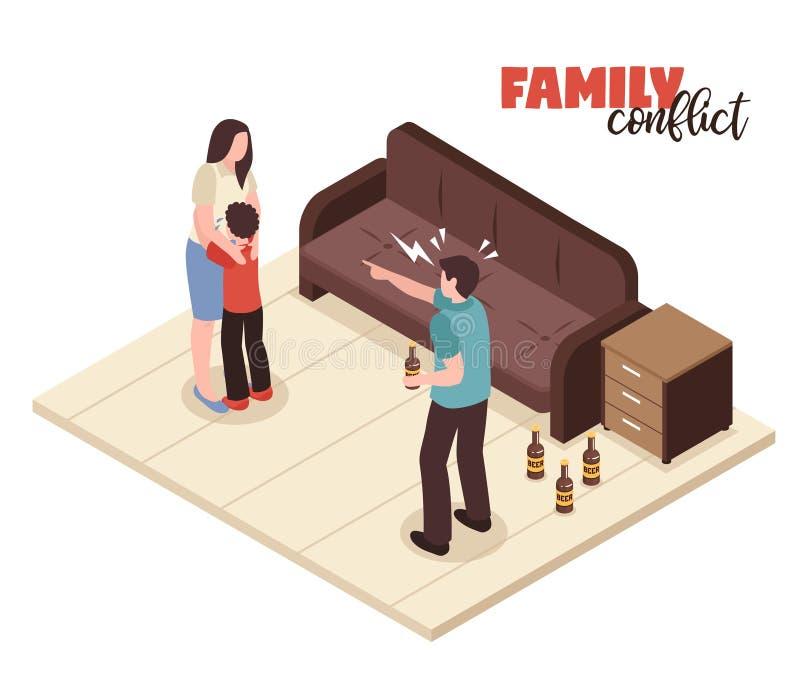 La familia está en conflicto composición stock de ilustración