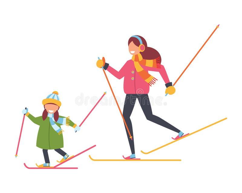 La familia está esquiando Madre e hija Azul, tarjeta, huésped, embarque, ejercicio, extremo, diversión, cometa, kiteboard, kitebo stock de ilustración