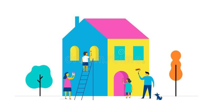 La familia está pintando a casa, diseño de concepto Escena al aire libre del verano con el ejemplo plano minimalistic colorido de ilustración del vector