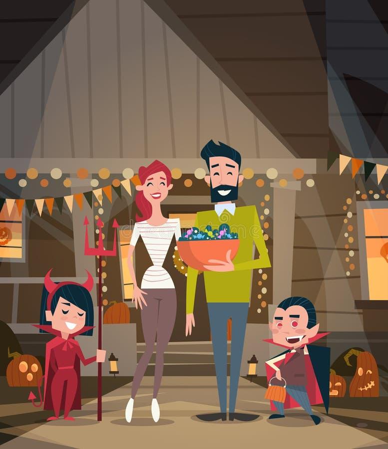 La familia feliz celebra concepto del partido del horror de la decoración del día de fiesta de los trajes del vampiro del desgast libre illustration