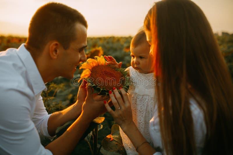 La familia feliz con el bebé tiene una diversión y juegos con la inflorescencia del girasol foto de archivo