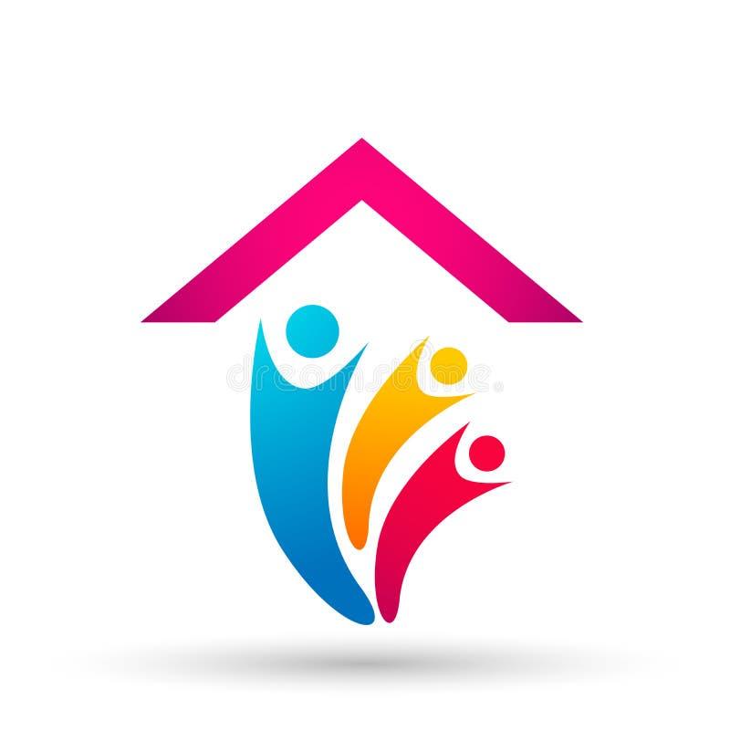 La familia feliz en los niños caseros del padre del logotipo de la unión de la casa ama vector parenting del diseño del icono del ilustración del vector