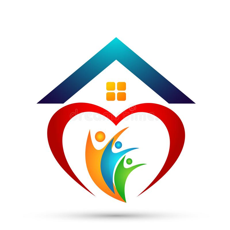 La familia feliz en niños del padre del logotipo de la unión de la casa del hogar del corazón ama vector parenting del diseño del ilustración del vector