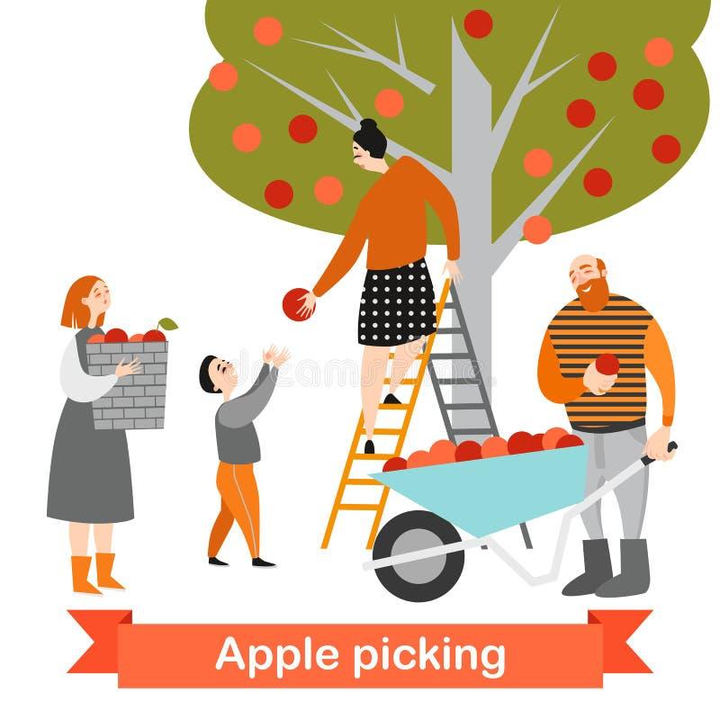 La familia feliz está escogiendo manzanas en el jardín Tiempo de cosecha Los niños ayudan a sus padres en la granja ilustración del vector