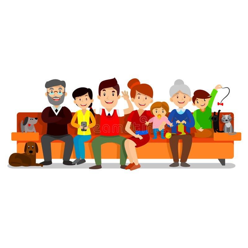 La familia feliz grande se sienta en el sofá Padres con los niños Padre, madre, niños, abuelo, abuela, perro y gato ilustración del vector