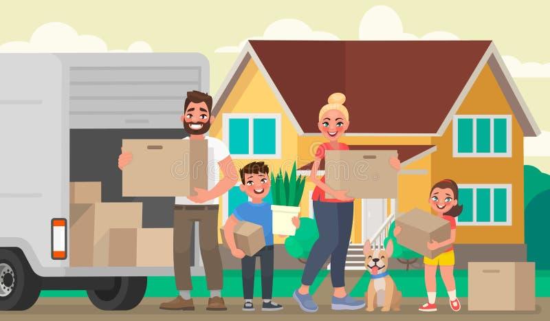 La familia feliz se traslada a una nueva casa Padre, madre y niños a libre illustration