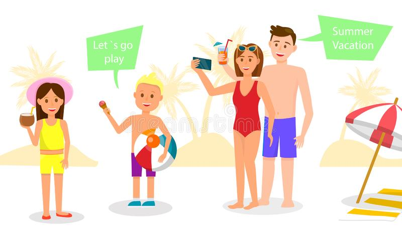 La familia feliz tiene resto en el centro tur?stico Padres y cabritos ilustración del vector