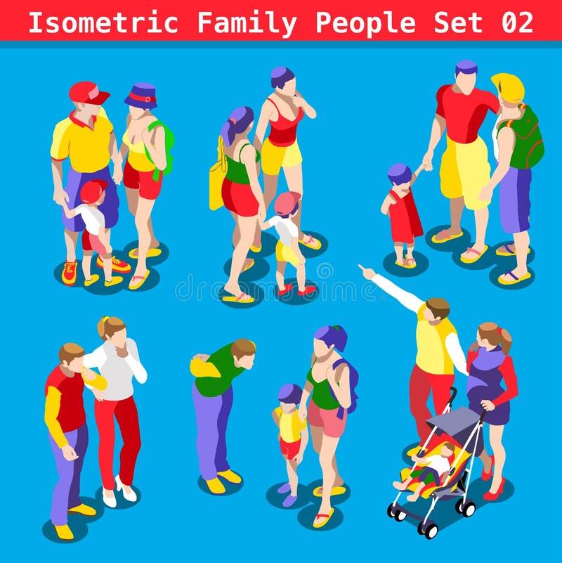 La familia fijó a 02 personas isométricas stock de ilustración
