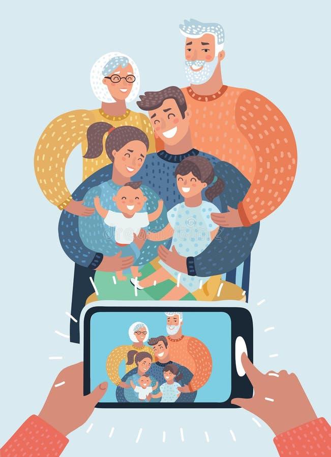 La familia grande embroma a abuelos de los padres stock de ilustración