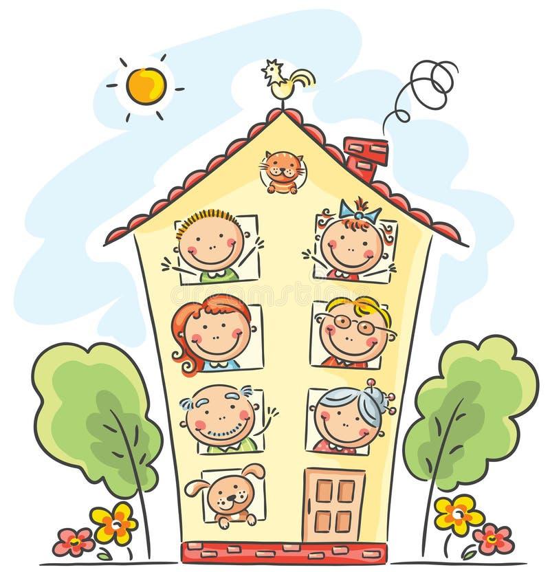 La familia grande está en casa stock de ilustración