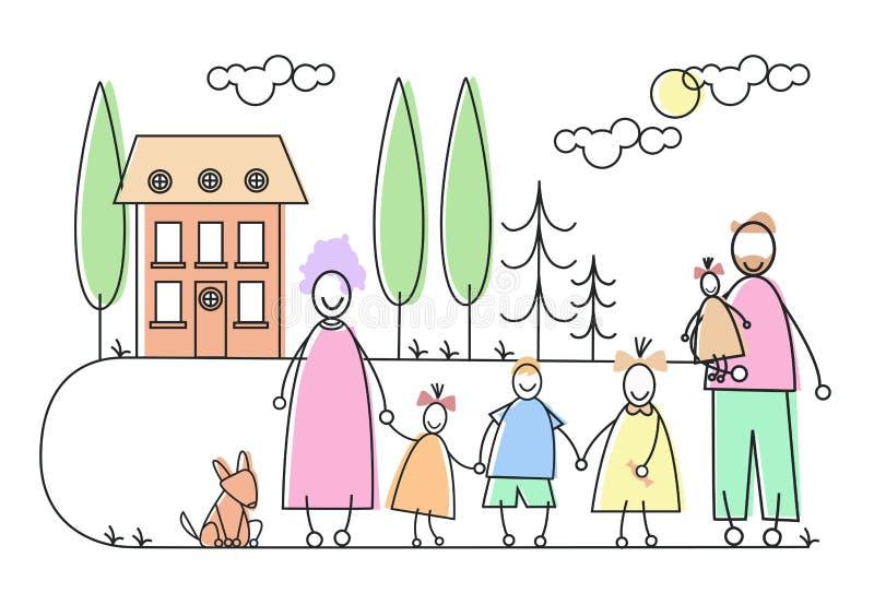 La familia grande Parents el estado de la casa del animal doméstico de cuatro niños libre illustration