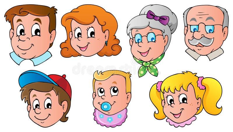 La familia hace frente a la imagen 1 del tema stock de ilustración