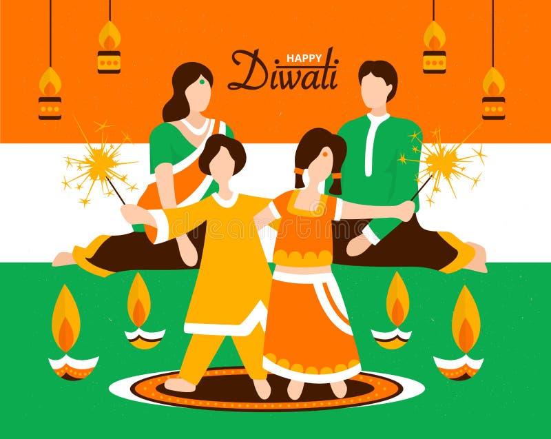 La familia india que celebra Diwali junta vector el ejemplo ilustración del vector
