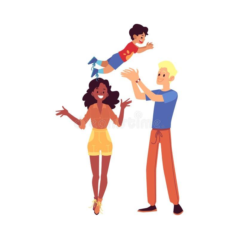 La familia interracial feliz se coloca que lanza encima de su estilo de la historieta del hijo stock de ilustración