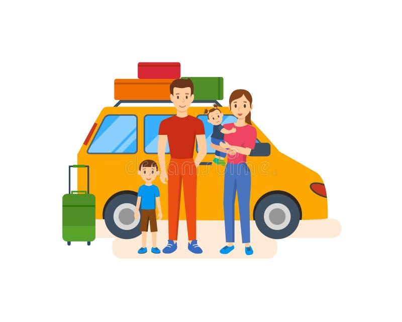 La familia joven con los niños va en un viaje en coche ilustración del vector