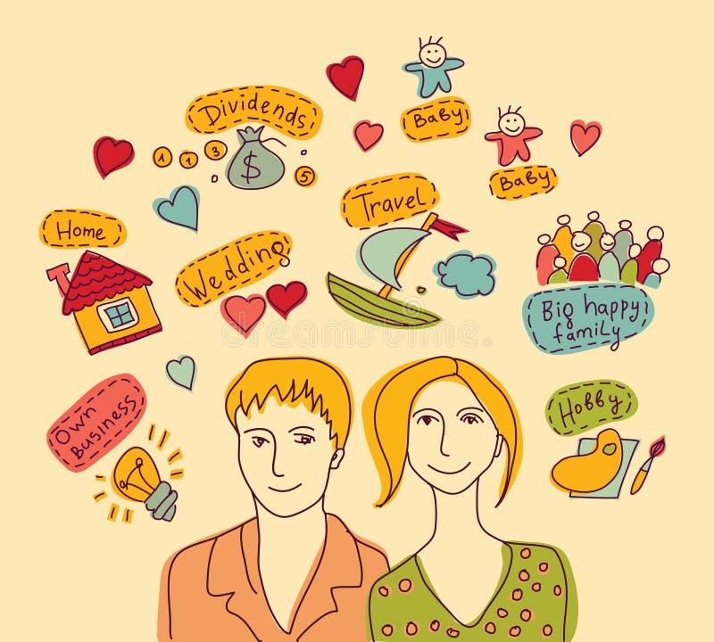 La familia joven de los pares planea deseos de los sueños libre illustration