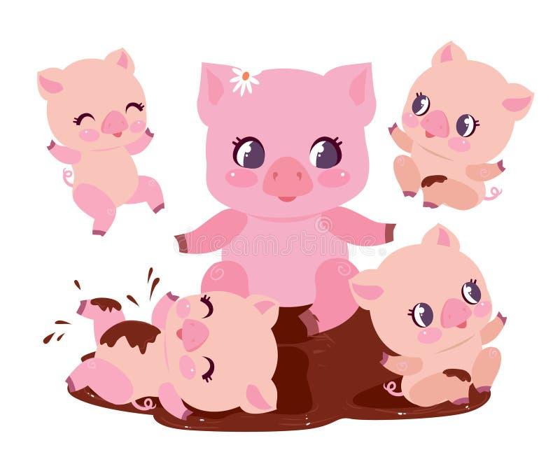 La familia linda del cerdo baña el ejemplo plano del vector del charco de la suciedad Chubby Baby Swine Play feliz en fango sucio stock de ilustración
