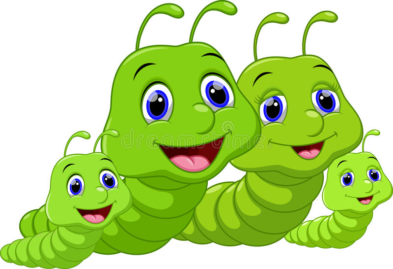 La familia linda worms la historieta stock de ilustración