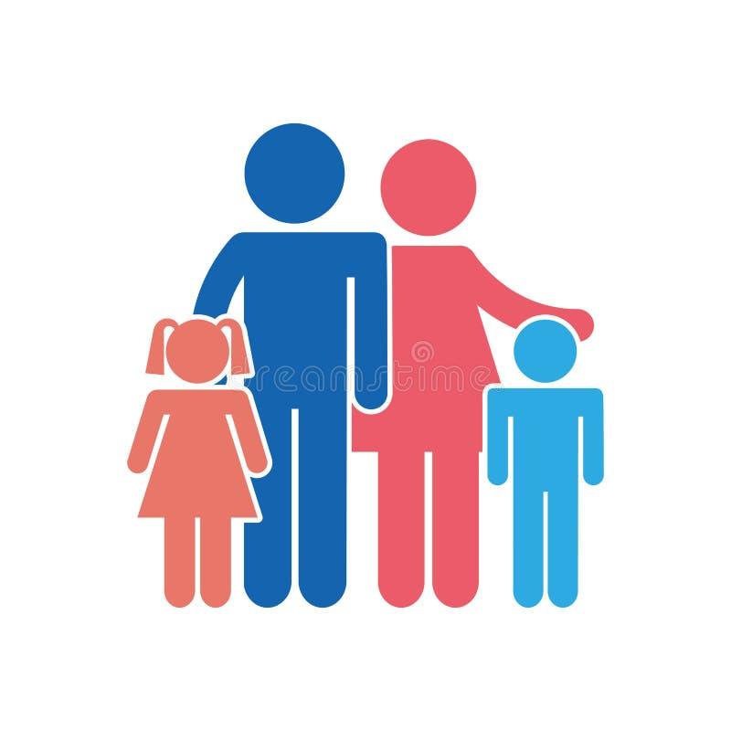 La familia parents el icono aislado silueta ilustración del vector