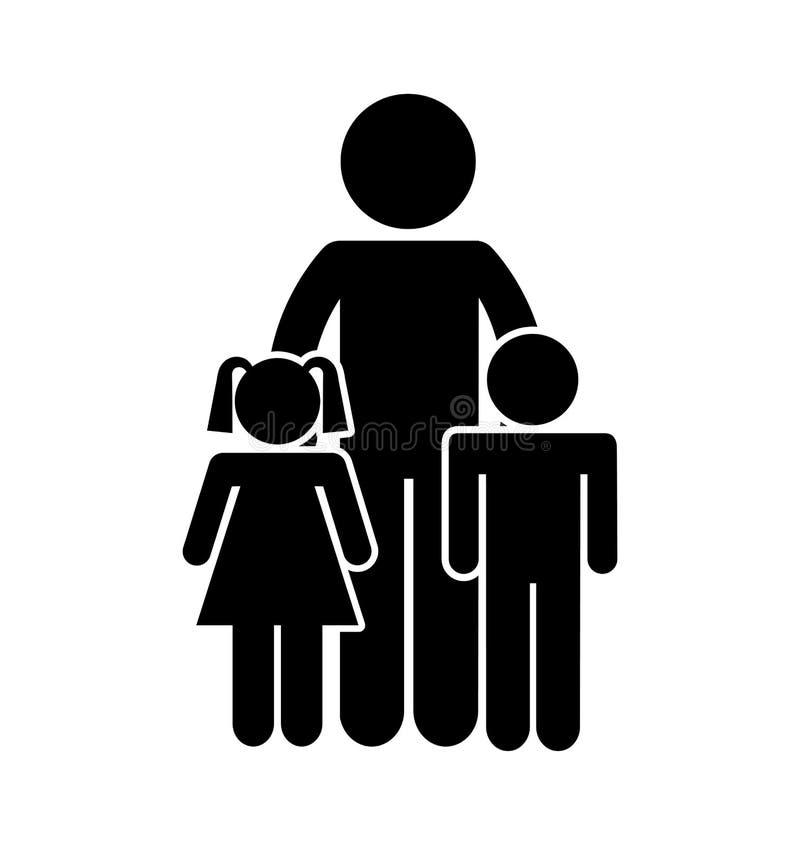 La familia parents el icono aislado silueta stock de ilustración